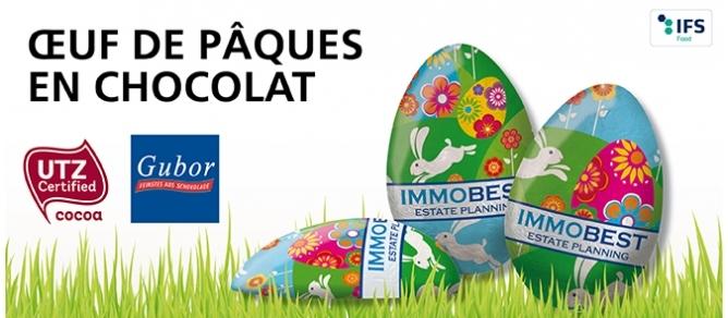 chocolat personnalisable, oeuf en chocolat publicitaire